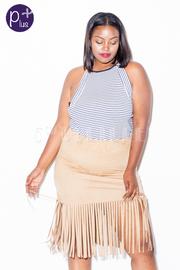 Plus Size Bottom Fringe Suede Skirt