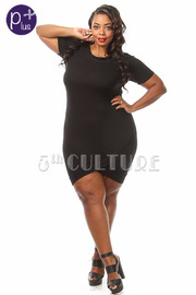 Plus Size Solid Short Sleeve Tulip Mini Dress
