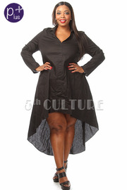 Plus Size Long Sleeve Solid High Low Dress