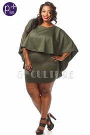 Plus Size Solid Deep Back Cut Mini Dress w Cape