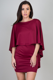 Solid Deep Back Cut Mini Dress w Cape
