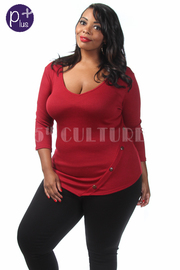 Plus Size Solid V-Neck Button Detailed Casual Top