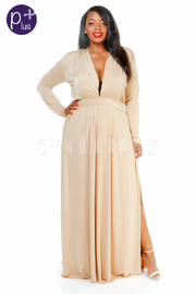 Plus Size Long Sleeve V-Neck Slit Maxi Dress
