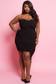 Plus Size Sweetheart Solid Asymmetrical Dress