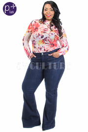Plus Size Denim Bell Bottoms Jeans