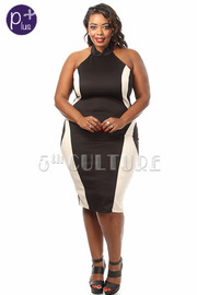 Plus Size Halter Top Contrast Detailed Midi Dress