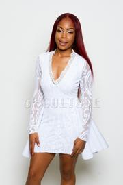Lace Long Sleeve V-Neck Flared Back Mini Dress