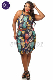 Plus Size Brush Stroke Top & Skirt Set