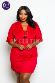 PLus Size Suede Dress w/ Pockets