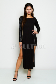 Faux Leather Long Sleeve Double Slit Maxi Top