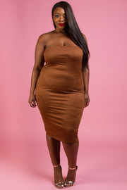 Plus Size Strapless Suede Midi Dress