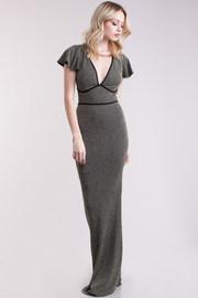 V-Neck Ruffled Sleeve Metallic Insert Mermaid Maxi Dress