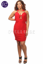 Plus Size Cut Out Mesh Insert Fitted Dress