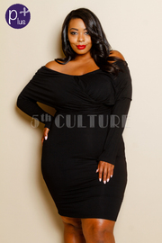 Plus Size Solid Long Sleeve X Textured Dress