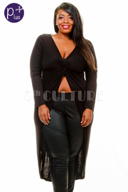 Plus Size Solid Long Sleeve High Low Fashion Top