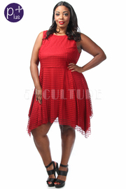 Plus Size Solid Sleeveless A-Line Dress