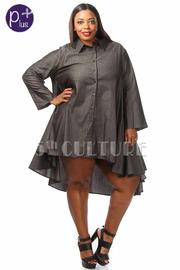 Plus Size Flowy Denim Long Sleeve Dress