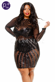 Plus Size Front Mesh Sequin Long Sleeve Bodycon Dress