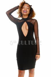 Key Hole Long Sleeve Mock Neck Dress