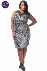 Plus Size Sequin Sleeveless Fitted Dress