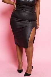 Plus Size Side Slit Pencil Skirt