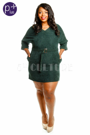 Plus Size Mini Dress With Belt