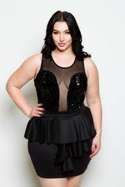 Plus Size Ruffle Front Mini Skirt