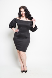 Plus Size Off the Shoulder Puffy Sleeve Mini Dress
