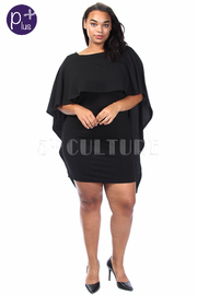 Plus Size Solid Bodycon Dress With Cape