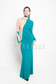 Scale Trim One Sleeve Maxi Dress