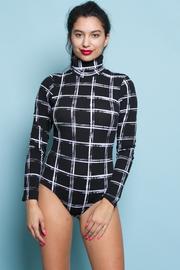 High Neck Long Sleeve Square Print Bodysuit