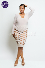 Plus Size Front Diamond Cut Out Long Sleeve Midi Dress