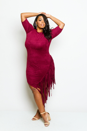 Plus Size Solid Suede Bottom Fringe Bodycon Dress