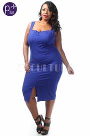 Plus Size Solid Front Slit Midi Dress