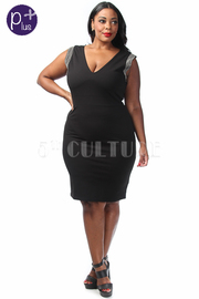 Plus Size Jewel Detail Cap Sleeve Solid Mini Dress