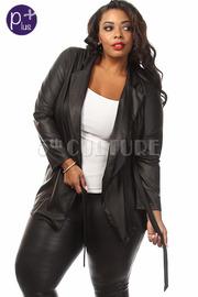 Plus Size Faux Leather Waist Tie Jacket