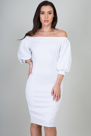 Off the Shoulder Puffy Sleeve Mini Dress