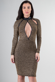 Mock Neck Long Sleeve Peep Hole Glitter Mini Dress