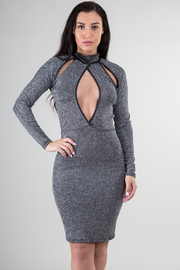 Mock Neck Long Sleeve Peep Hole Glitter Mini Dress