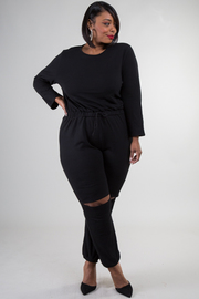 Plus Size Knee Slit Long Sleeve Jumpsuit
