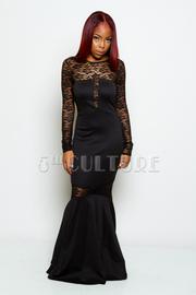 Long Sleeve Lace Insert Maxi Mermaid Dress