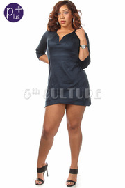 Plus Size All Over Suede Mini Dress