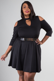 Plus Size Peep Shoulder Belted A Line Dress