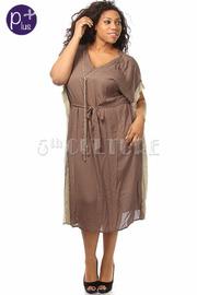 Plus Size Oversize Waist Tie Gold Trim Knee Length Dress