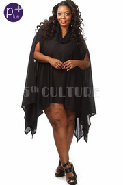 Plus Size Turtle Neck Asymmetrical Solid Mini Dress