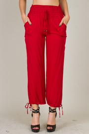 Detail Waist Solid Cotton Ankle Tie Pants