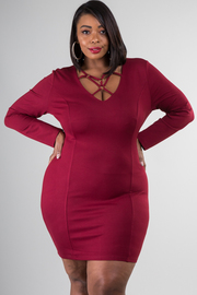 Plus Size Front Cross Solid Bodycon Mini Dress