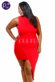 Plus Size Sleeveless Asymmetrical Solid Dress