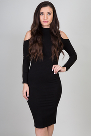 Open Shoulder High Neck Long Sleeve Solid Midi Dress