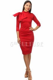 Big Bow Solid Bodycon Dress